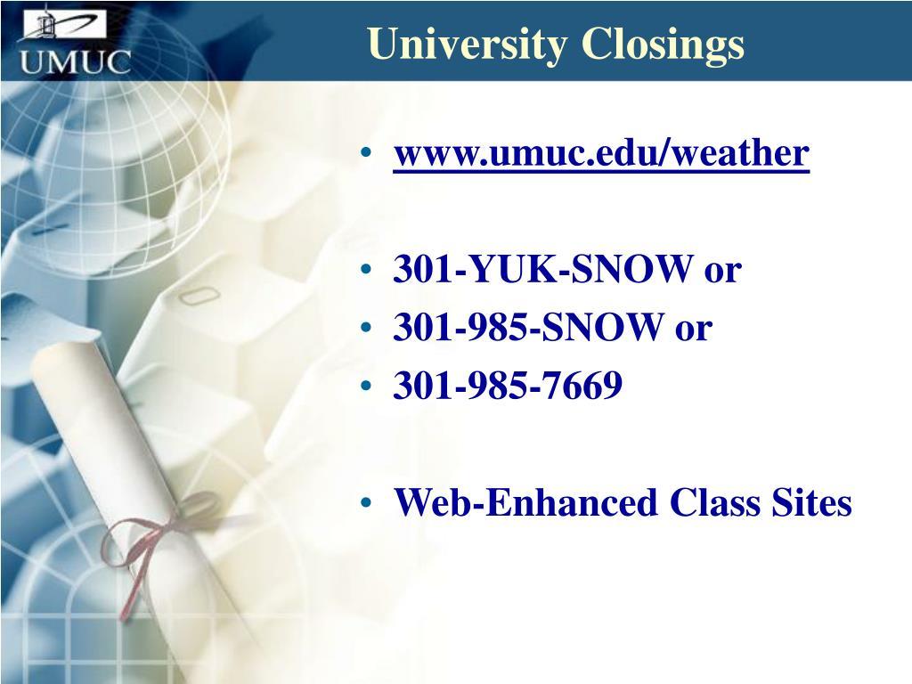 University Closings