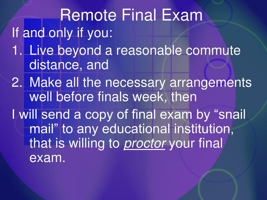 Remote Final Exam