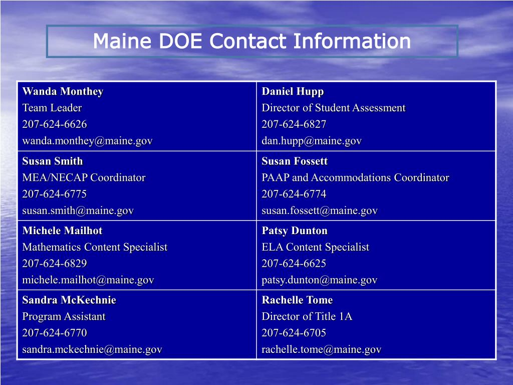 Maine DOE Contact Information