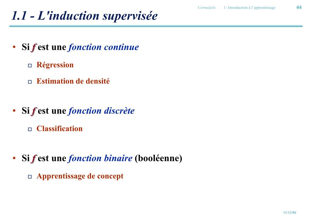 1.1 - L'induction supervisée