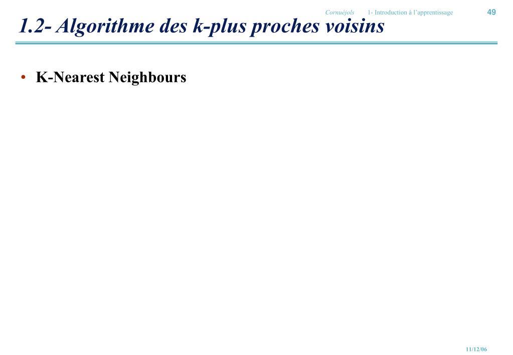 1.2- Algorithme des k-plus proches voisins