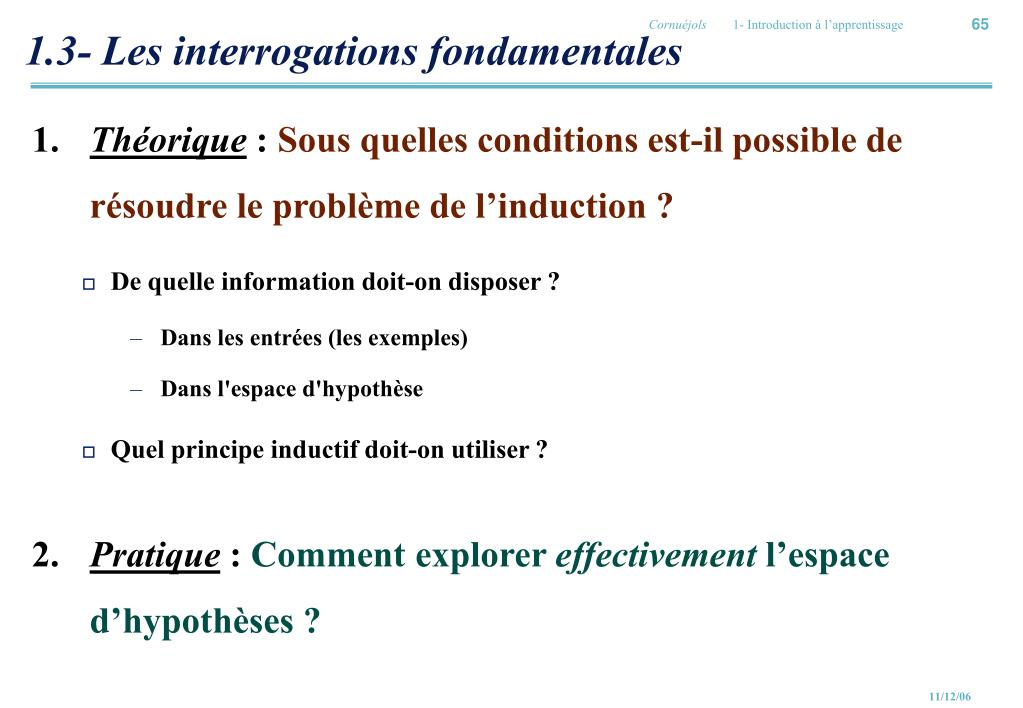 1.3- Les interrogations fondamentales
