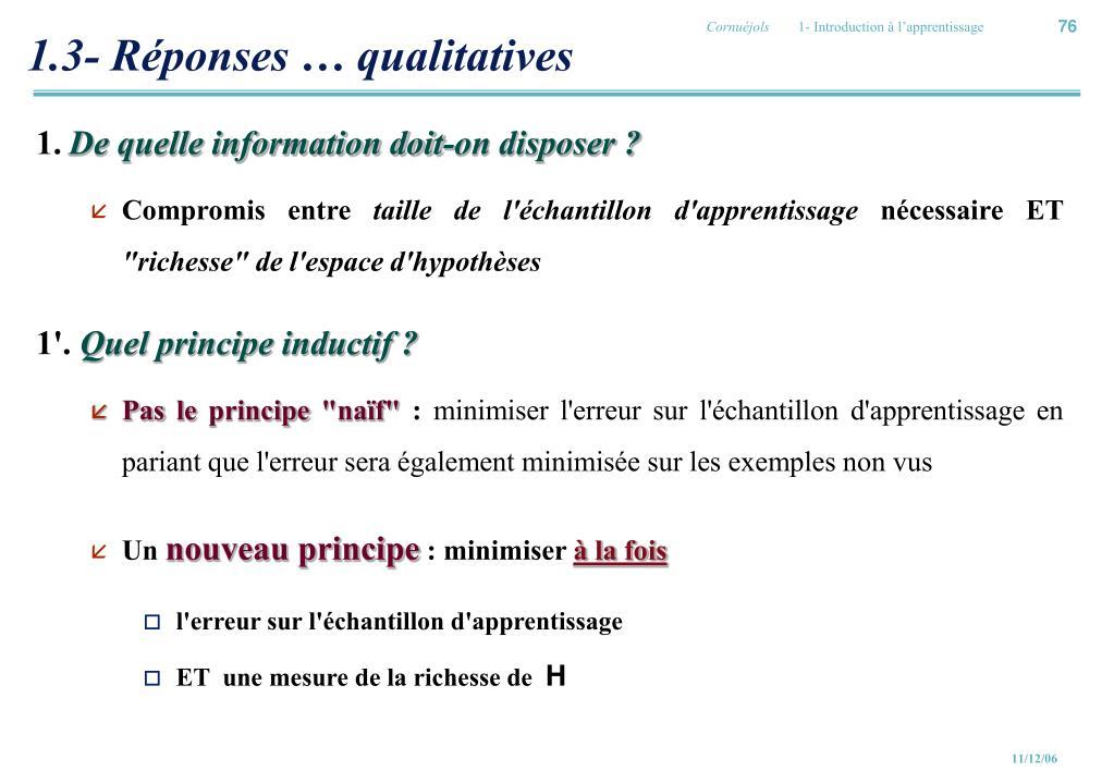 1.3- Réponses … qualitatives