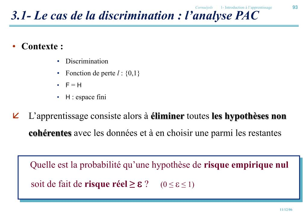 3.1- Le cas de la discrimination : l'analyse PAC