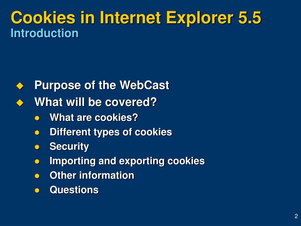 Cookies in Internet Explorer 5.5