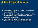 different types of cookies per session cookies
