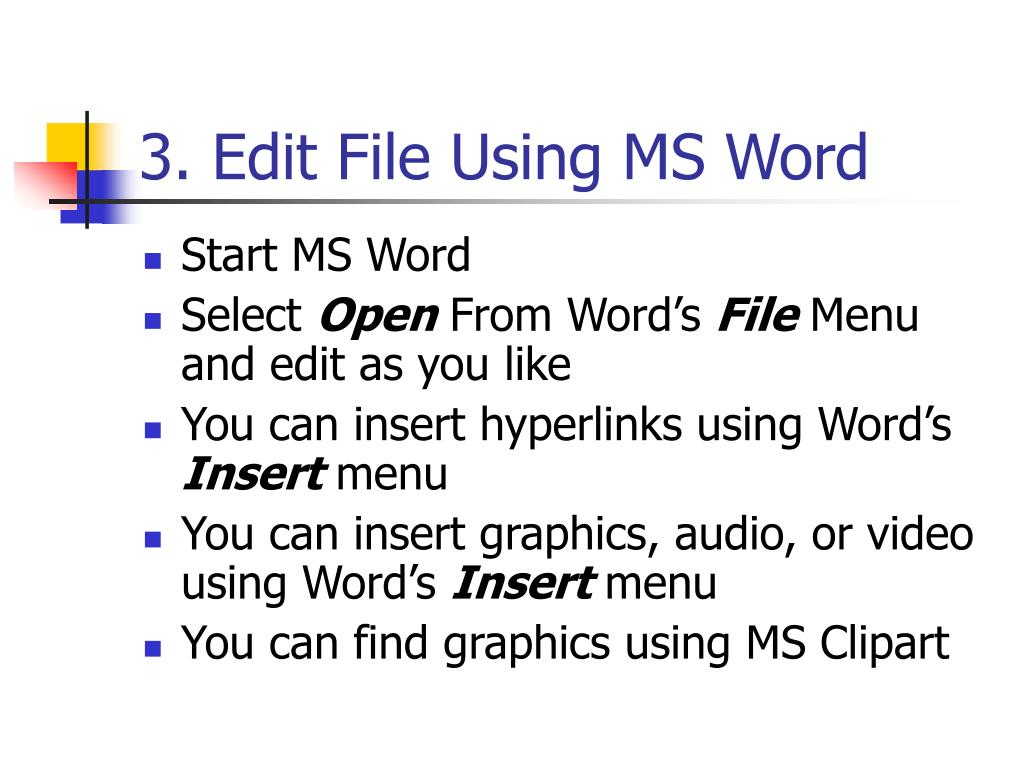 3. Edit File Using MS Word