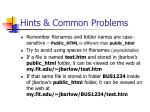 hints common problems