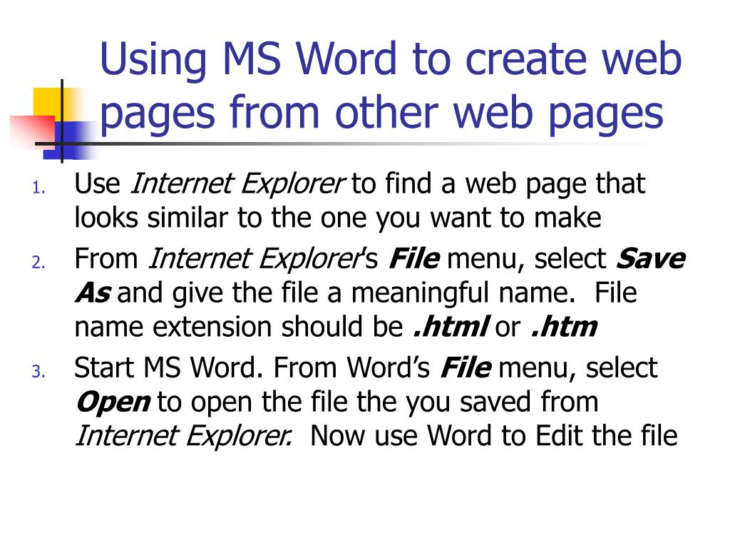 Using MS Word to create web pages from other web pages