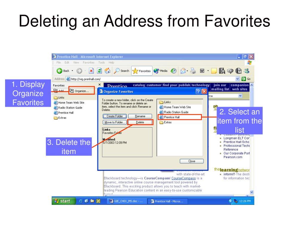 GRAPHIC showing: Organize Favorites dialog box