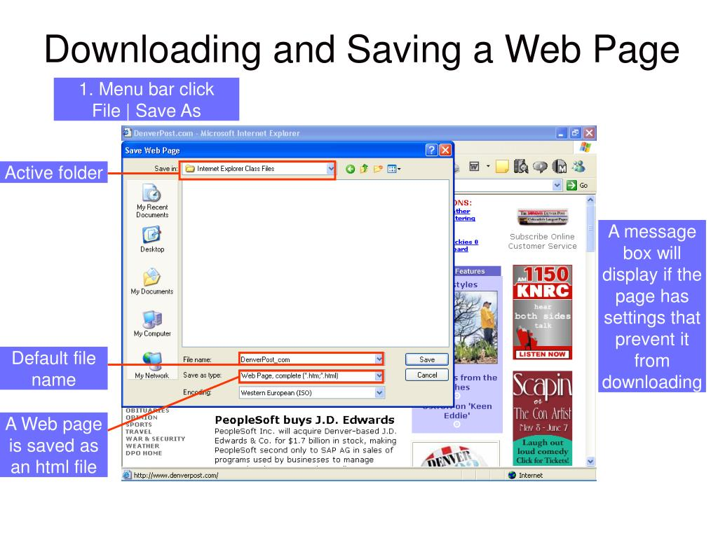 GRAPHIC showing: The Save Web Page dialog box.
