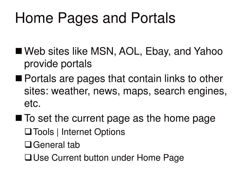 Home Pages and Portals