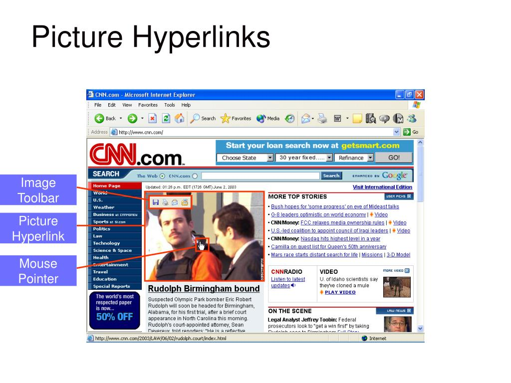 GRAPHIC showing: Image hyperlinks and the Image toolbar