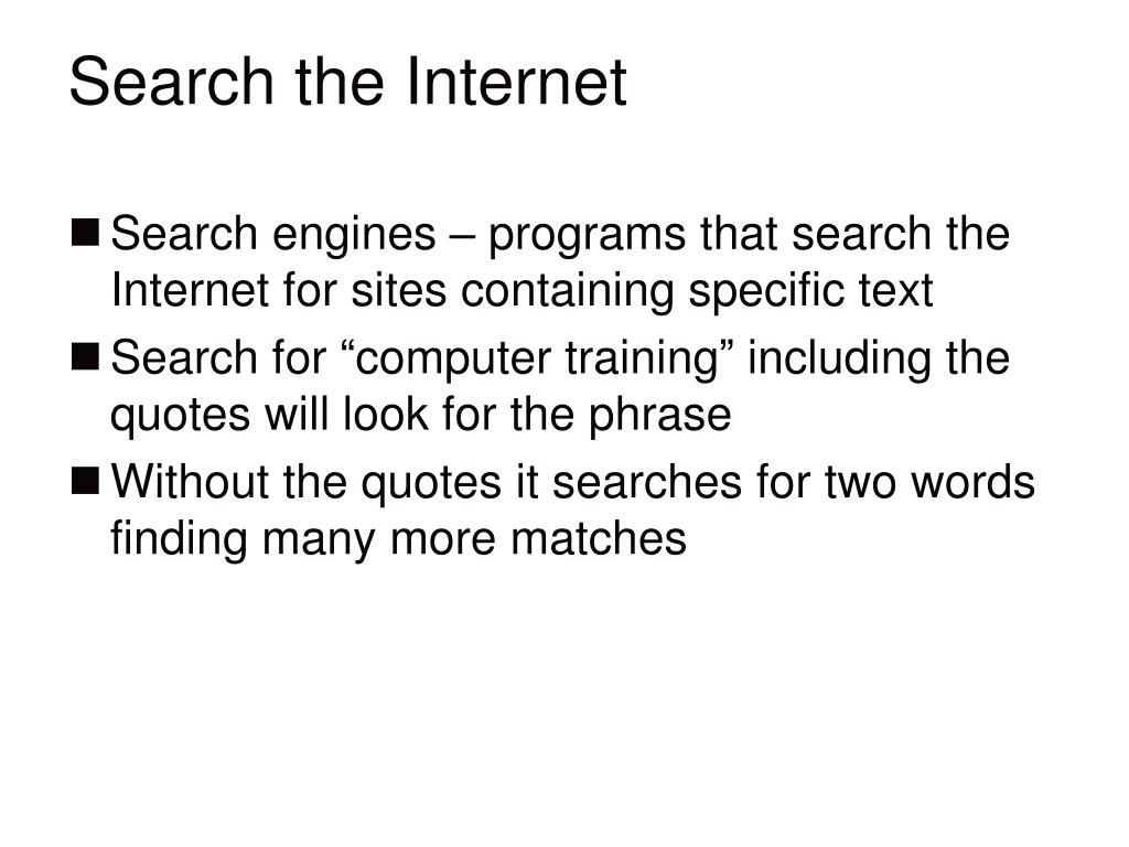 Search the Internet