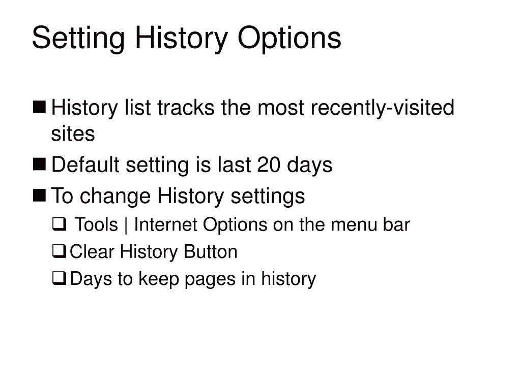 Setting History Options