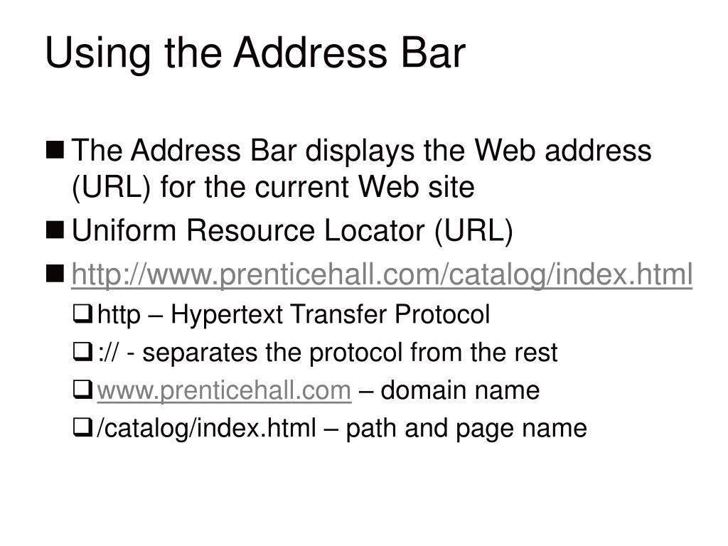 Using the Address Bar