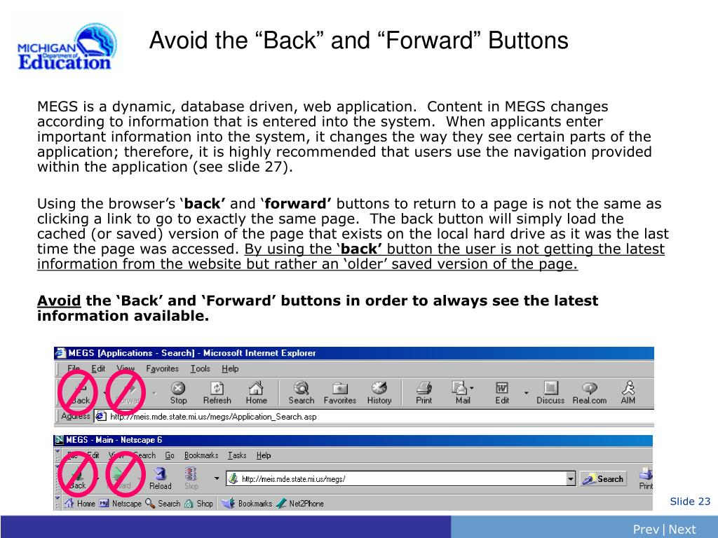 "Avoid the ""Back"" and ""Forward"" Buttons"