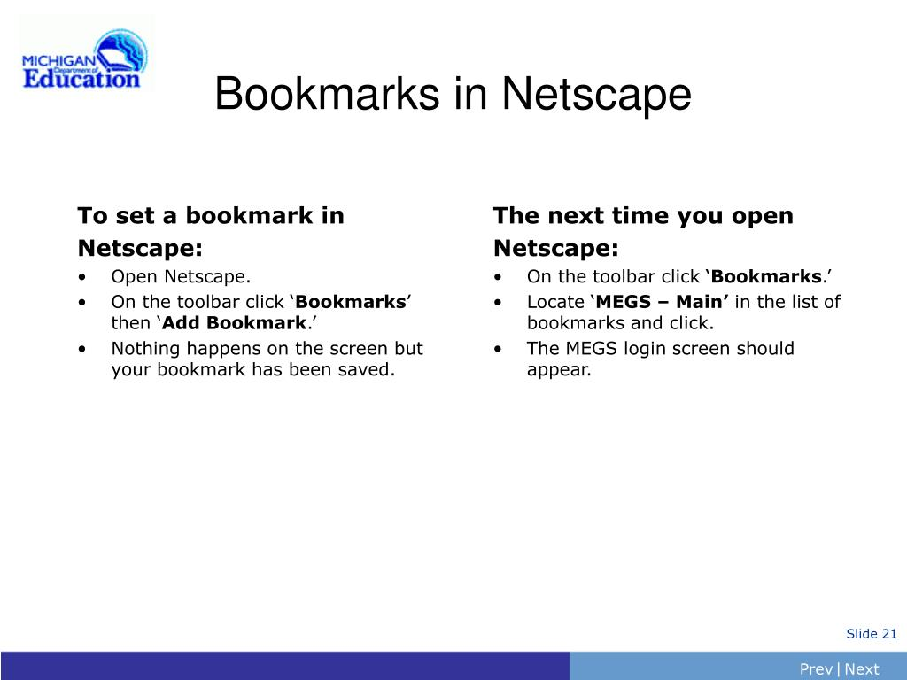 Bookmarks in Netscape