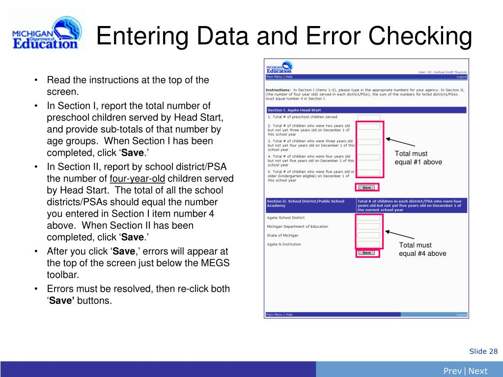 Entering Data and Error Checking