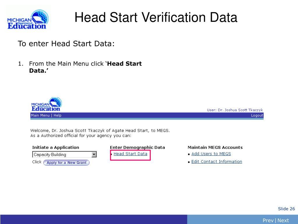 Head Start Verification Data