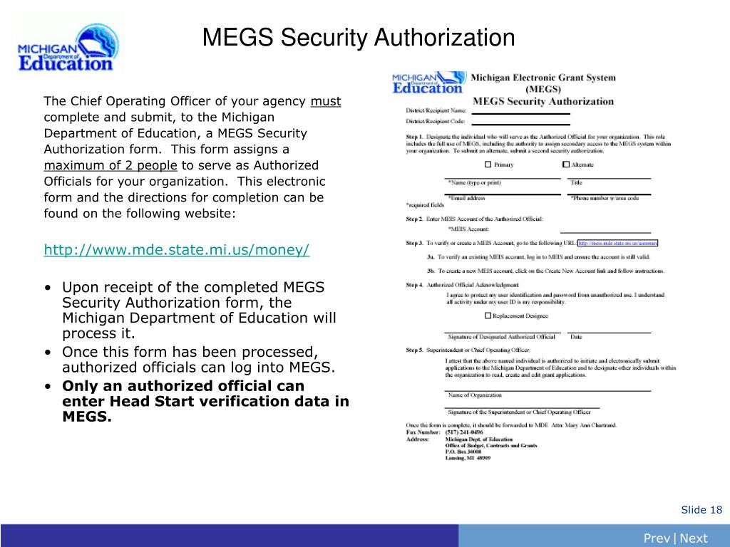 MEGS Security Authorization