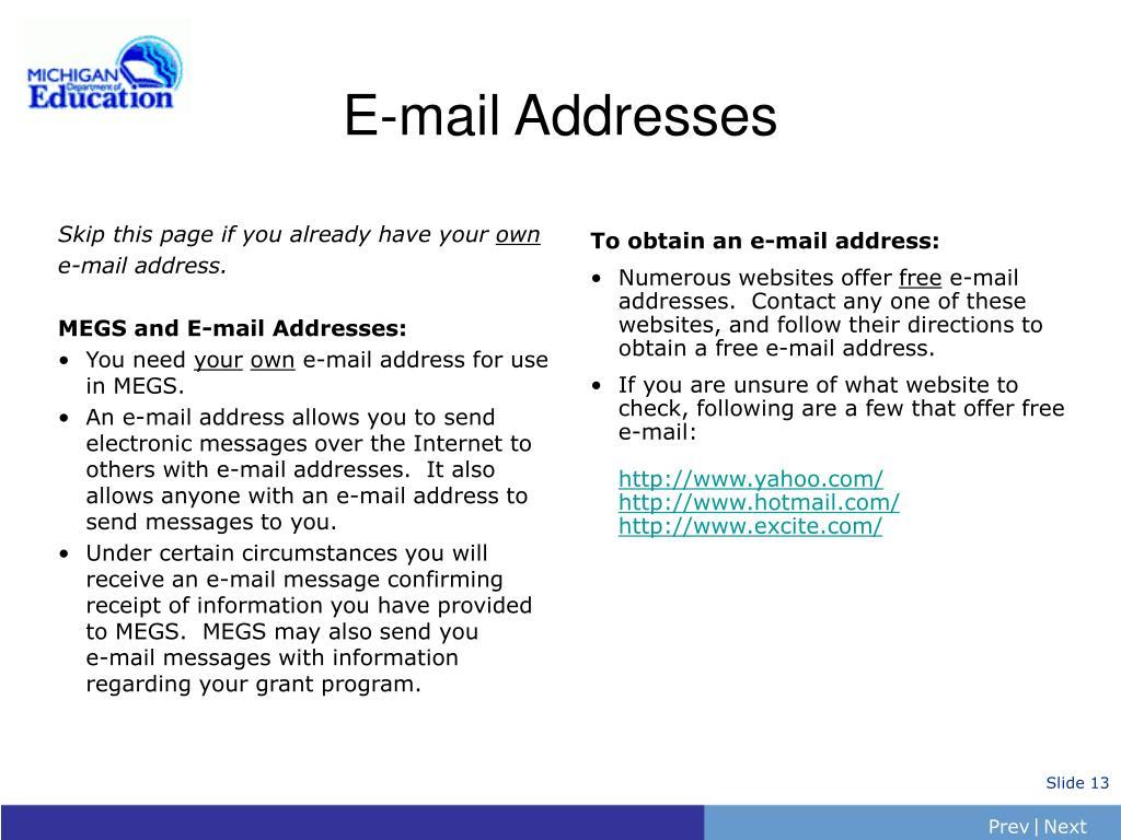 E-mail Addresses