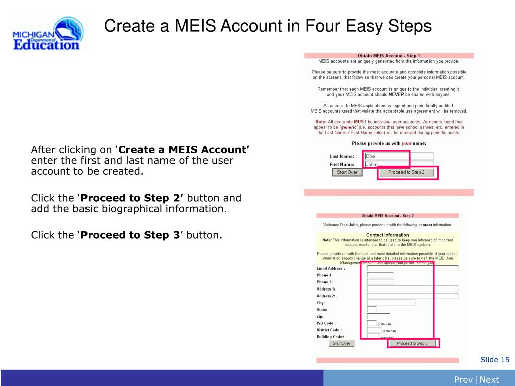Create a MEIS Account in Four Easy Steps