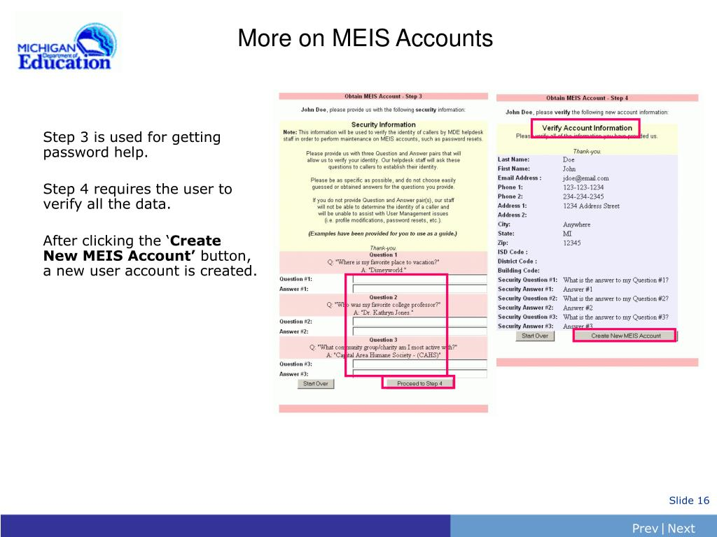 More on MEIS Accounts