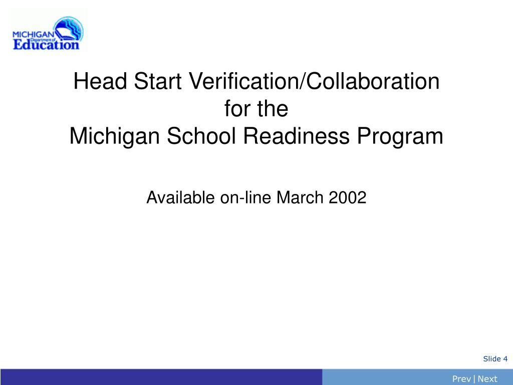 Head Start Verification/Collaboration