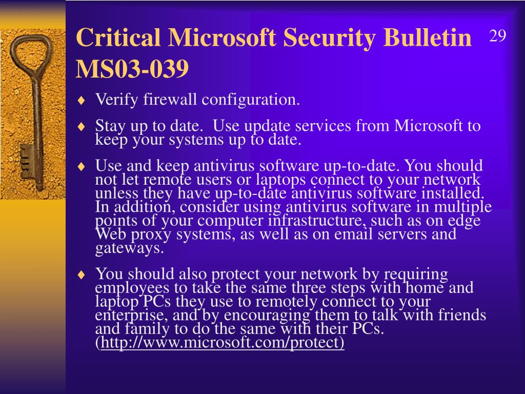 Critical Microsoft Security Bulletin MS03-039
