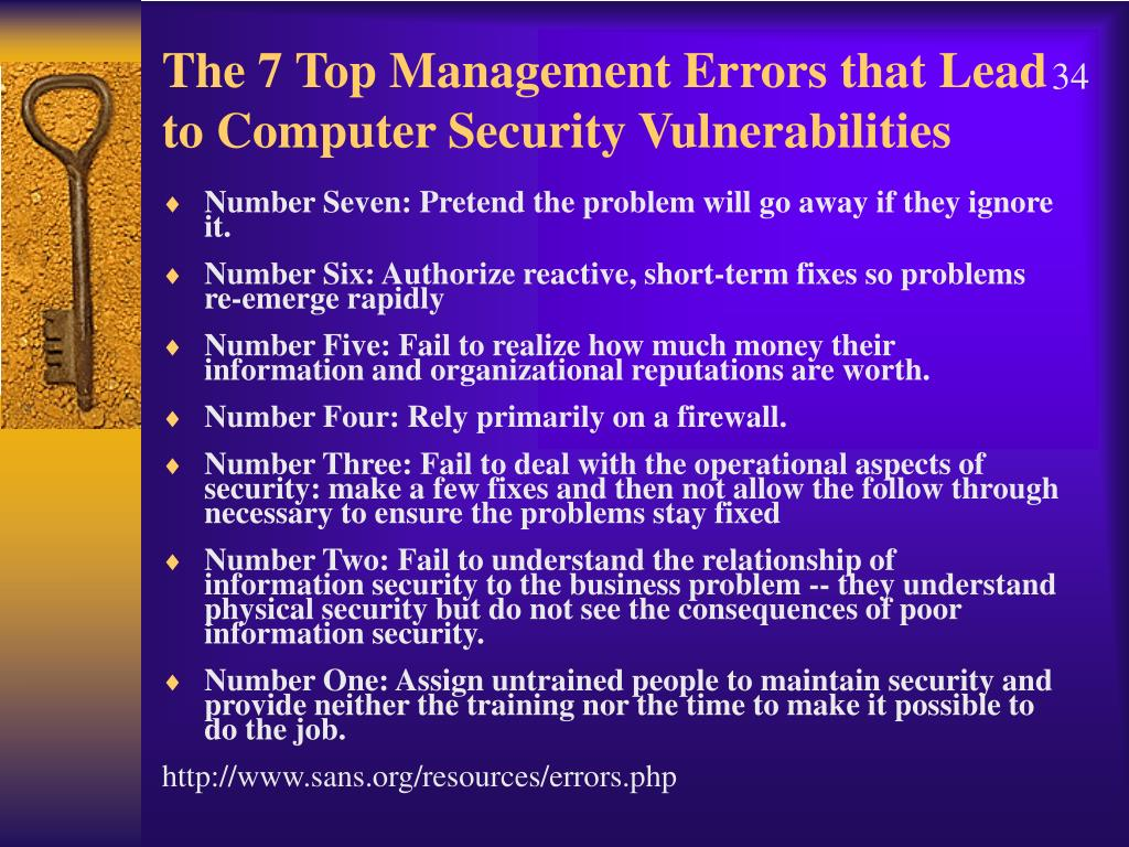 The 7 Top Management Errors that Lead to Computer Security Vulnerabilities