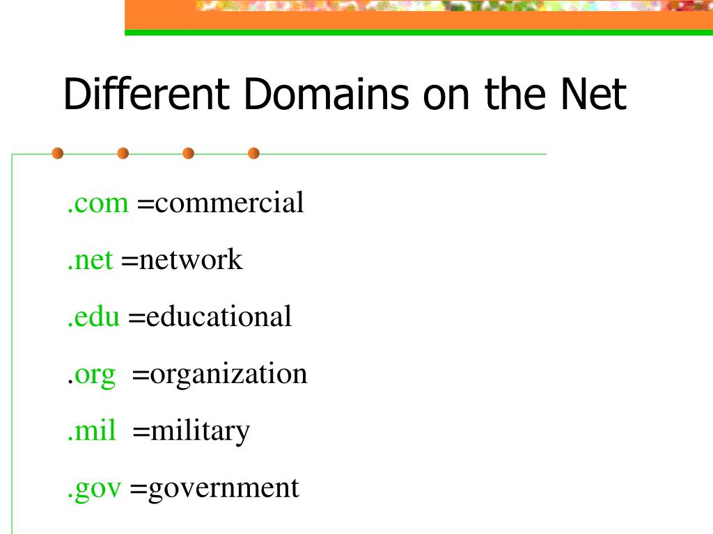 Different Domains on the Net