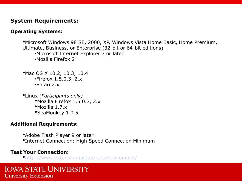System Requirements: