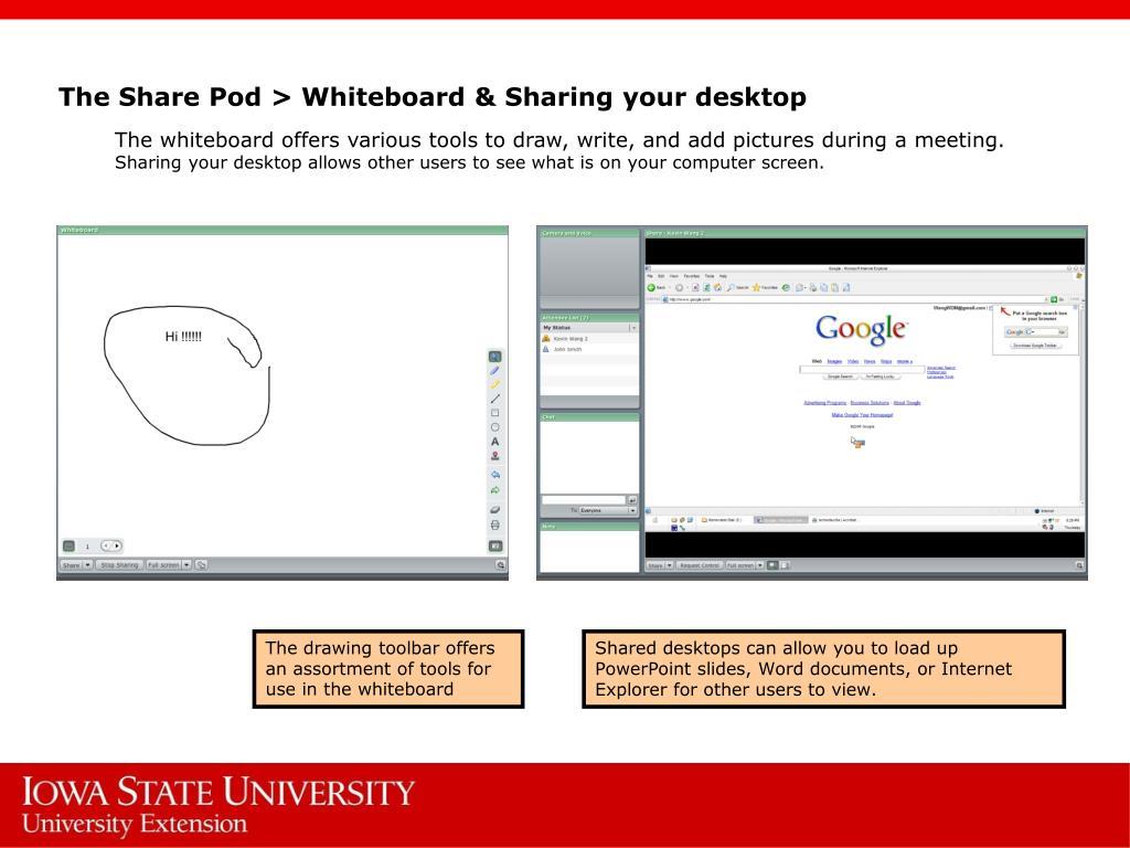 The Share Pod > Whiteboard & Sharing your desktop