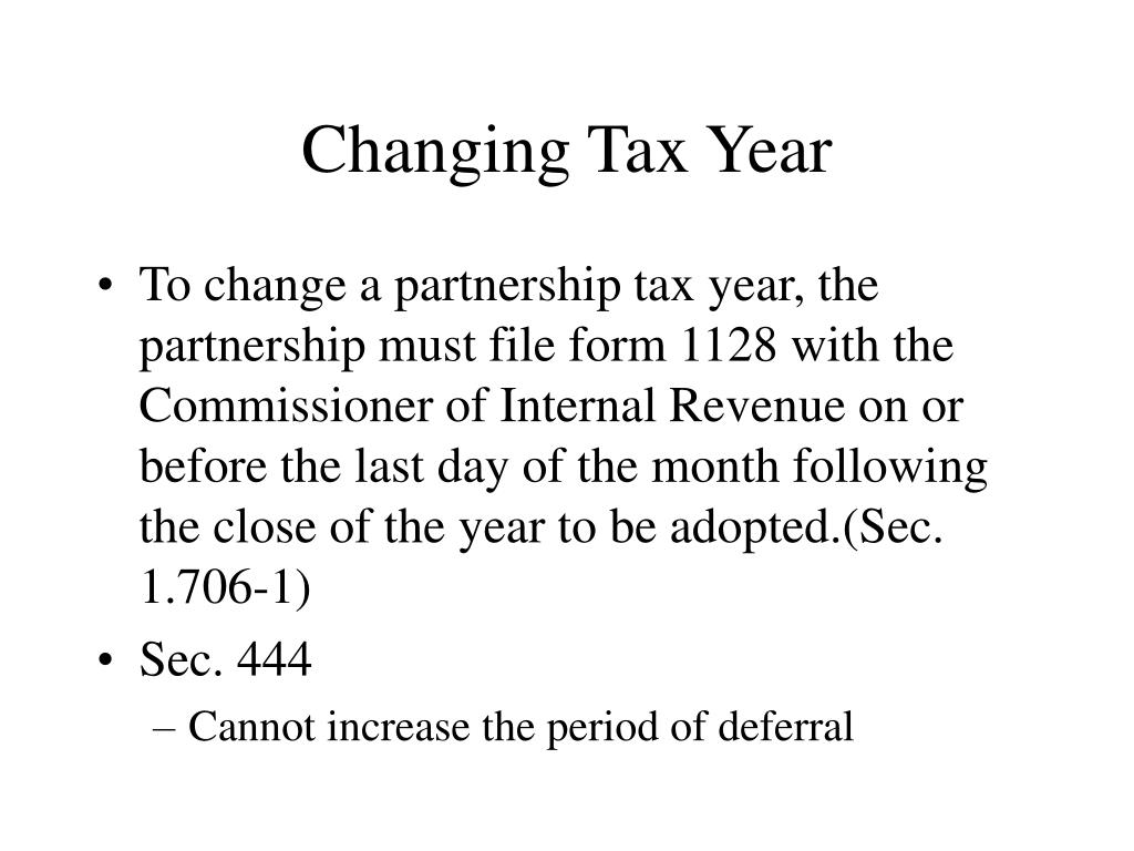 Changing Tax Year