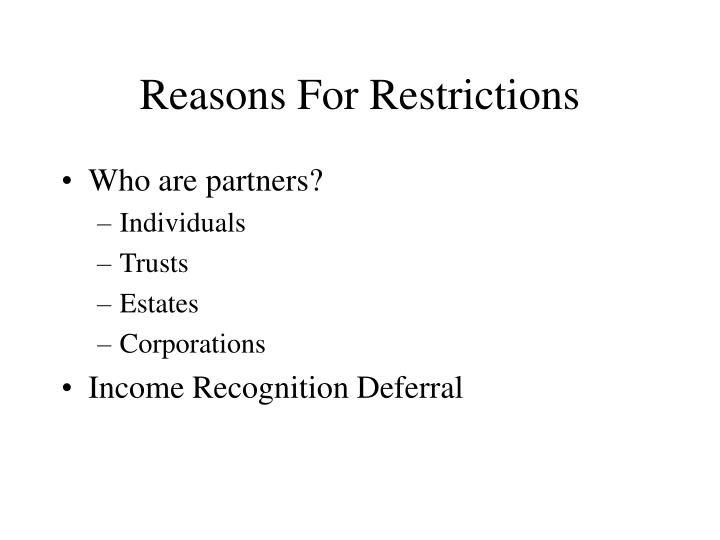 Reasons for restrictions l.jpg