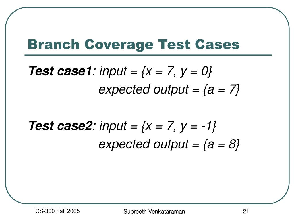 Branch Coverage Test Cases
