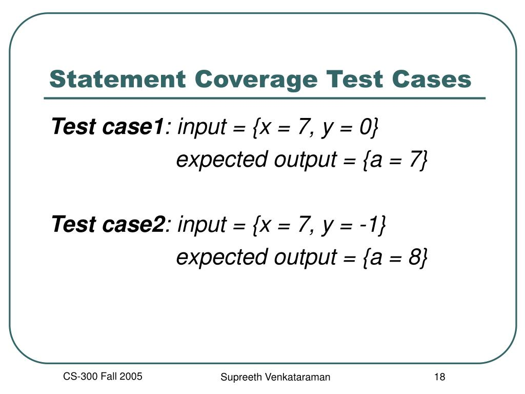 Statement Coverage Test Cases