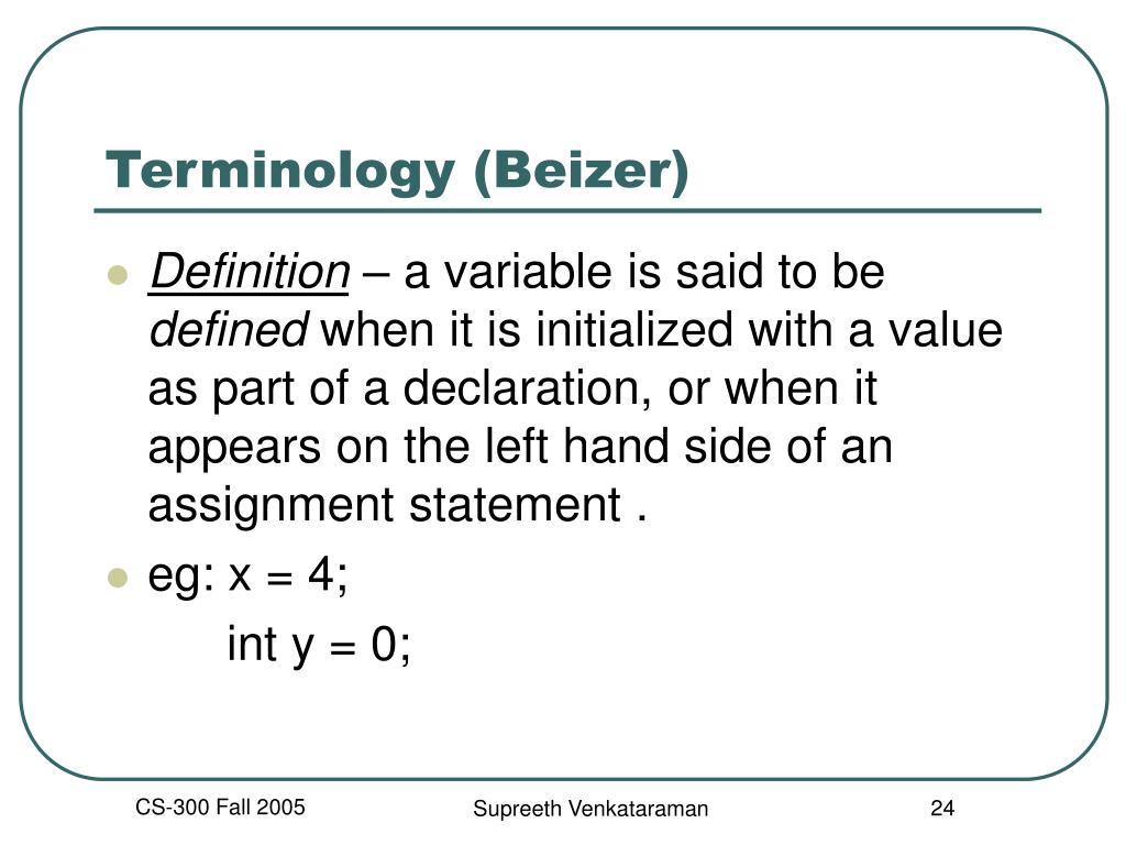 Terminology (Beizer)