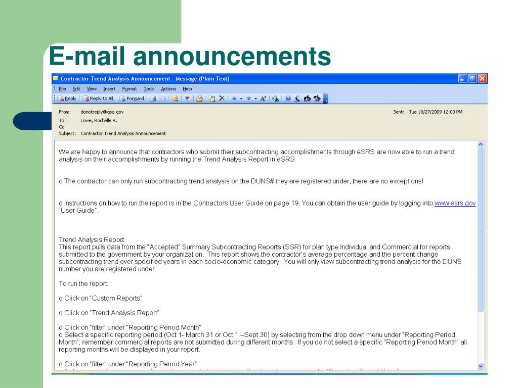 E-mail announcements