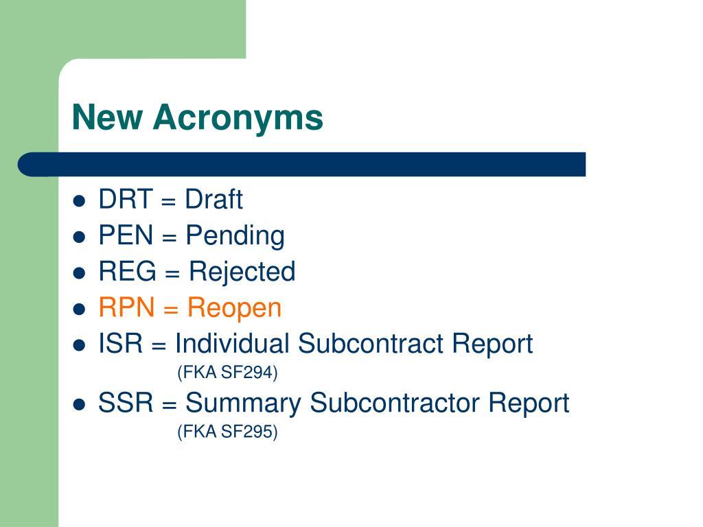 New Acronyms