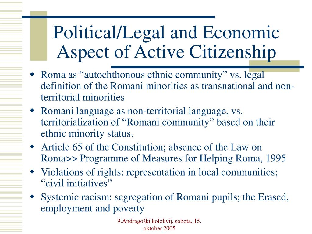 Political/Legal and Economic Aspect of Active Citizenship