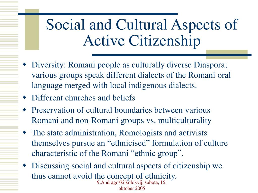 Social and Cultural Aspects of Active Citizenship