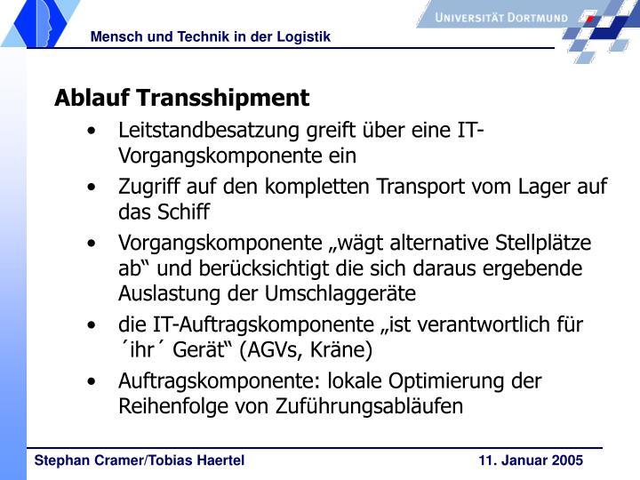 Ablauf Transshipment