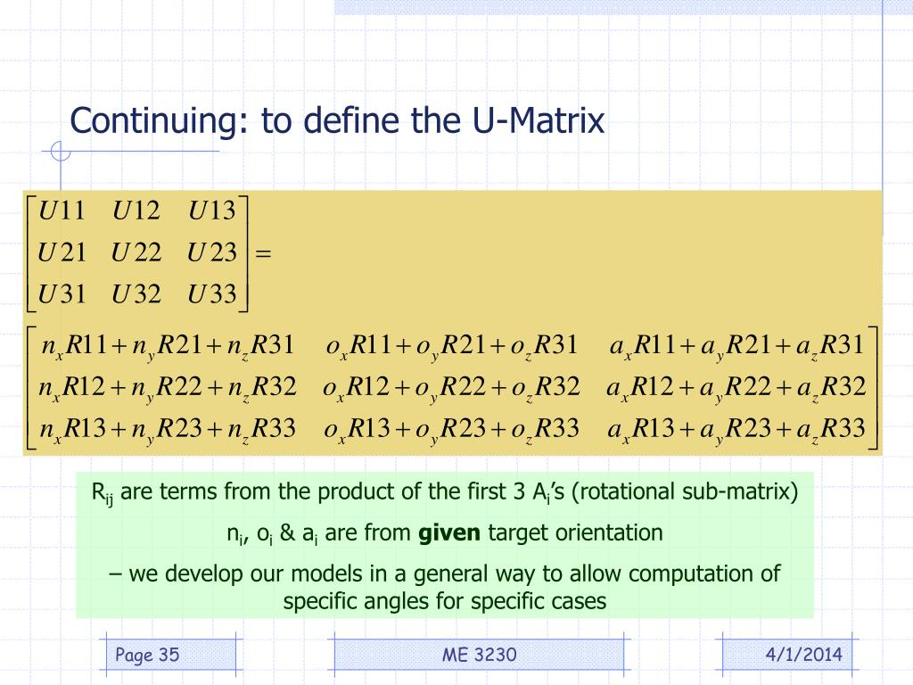 Continuing: to define the U-Matrix