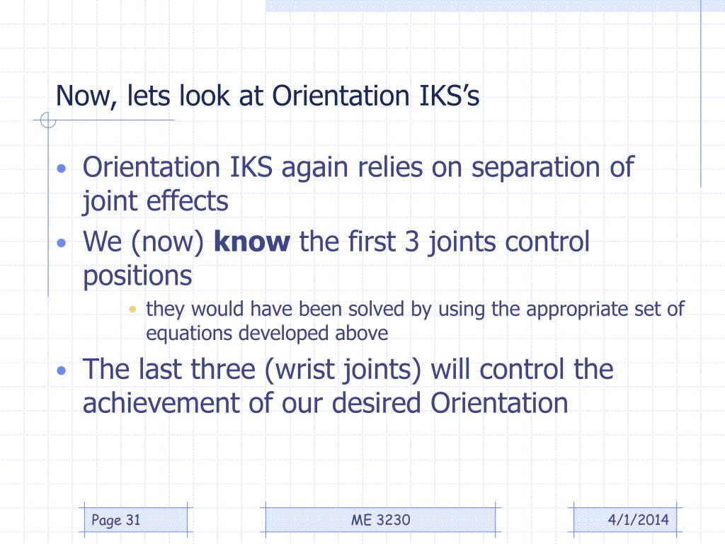 Now, lets look at Orientation IKS's