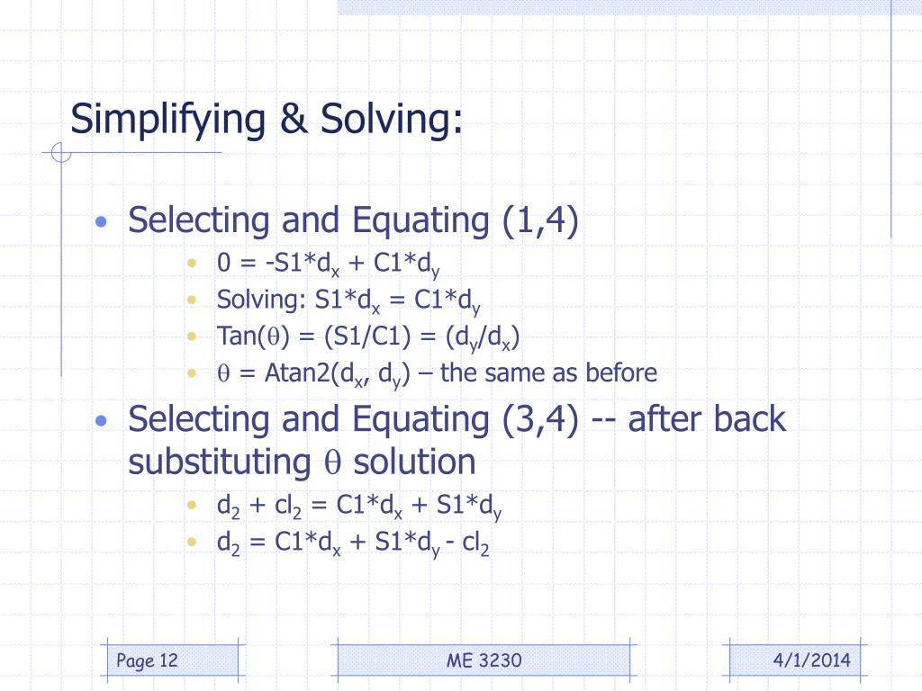 Simplifying & Solving: