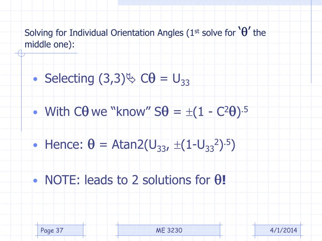 Solving for Individual Orientation Angles (1