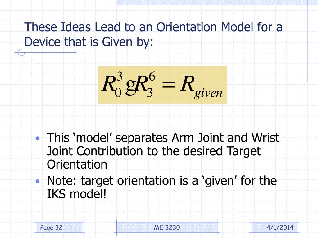 These Ideas Lead to an Orientation Model for a Device that is Given by: