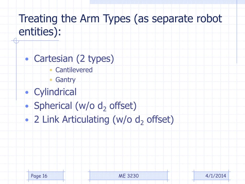 Treating the Arm Types (as separate robot entities):